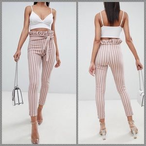 NWT PLT striped paperbag tie high waist pants